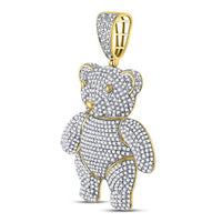 Men's 3-1/5 Ct Diamond Teddy Bear Charm Pendant in 10K Yellow Gold