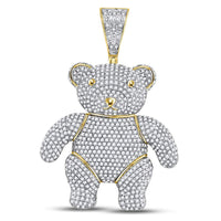 10K Yellow Gold Men's Diamond Teddy Bear Charm Pendant 3-1/5 Ct