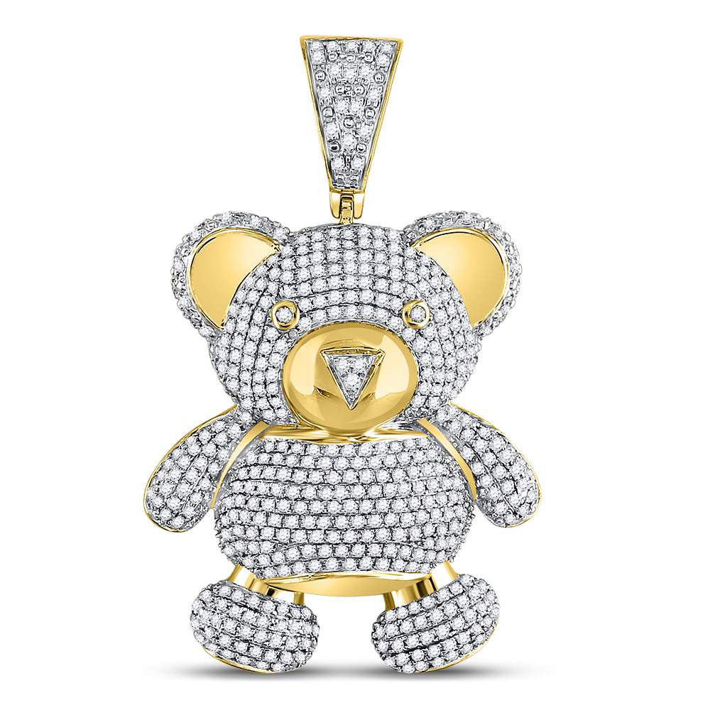 10K Yellow Gold Men's Diamond Teddy Bear Charm Pendant 2.00 Ct