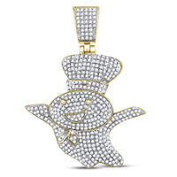 10K Yellow Gold Men's Diamond Doughboy Charm Pendant 1-1/3 Ct