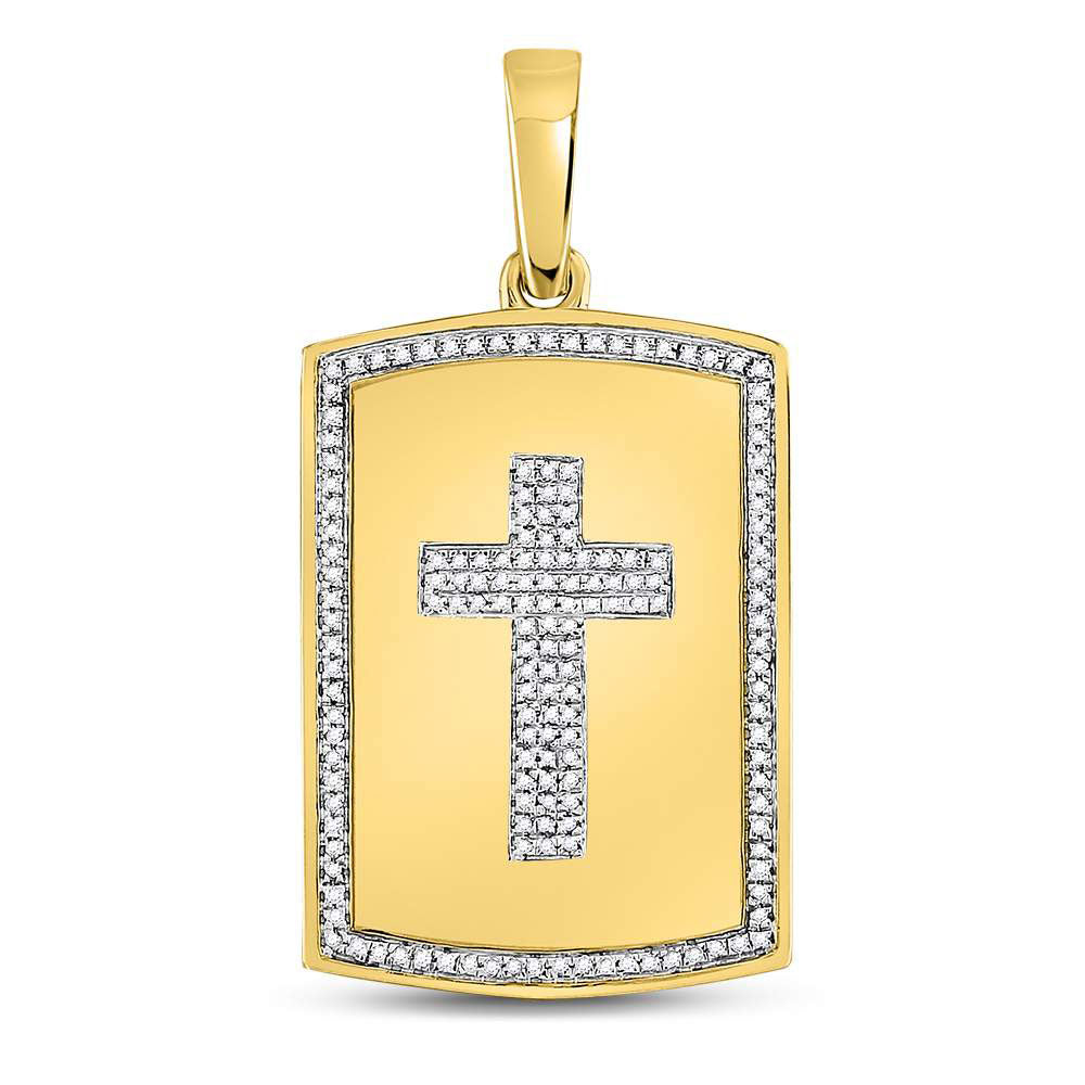 10K Yellow Gold Men's Diamond Cross Dog Tag Charm Pendant 1/3 Ct