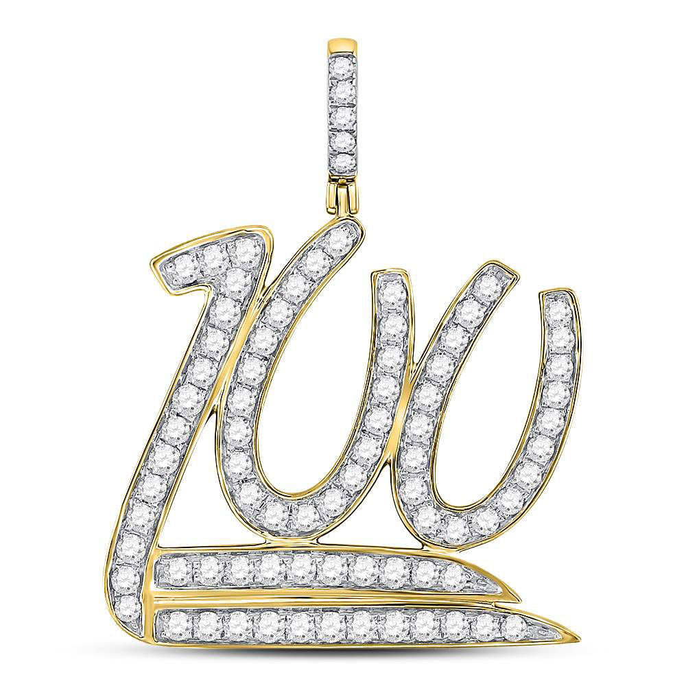 10K Yellow Gold Men's Diamond 100 Hundred Emoji Charm Pendant 1-1/4 Ct