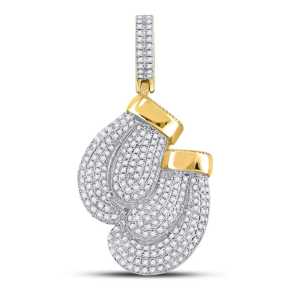 10K Yellow Gold Men's Diamond Boxing Gloves Sports Charm Pendant 1-3/4 Ct