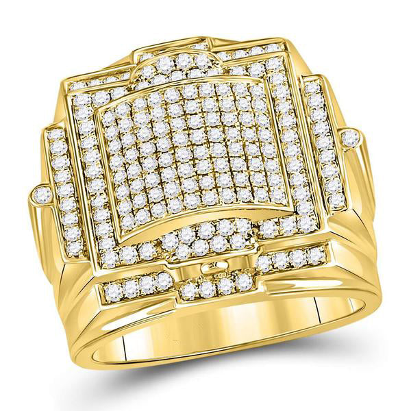 Men's 1-1/3 Ct Diamond Prong-set Triple Square Cluster Ring in 10K Yellow Gold