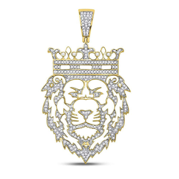 10K Yellow Gold Men's Diamond King Lion Crown Charm Pendant 3/4 Ct