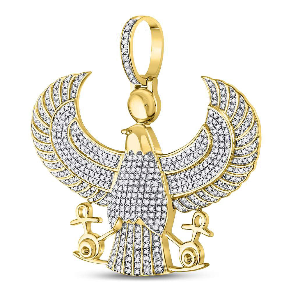 10K Yellow Gold Men's Diamond Eagle Falcon Egyptian Horus Ankh Charm Pendant 1-3/4 Ct