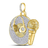 Men's 3.00 Ct Diamond Recording Artist Mic Record Charm Pendant in 10K Yellow Gold