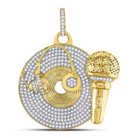 10K Yellow Gold Men's Diamond Recording Artist Mic Record Charm Pendant 3.00 Ct