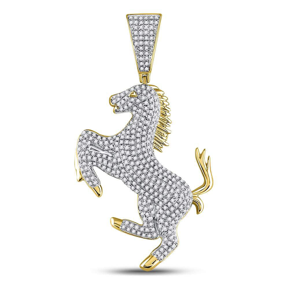 10K Yellow Gold Men's Diamond Pony Horse Charm Pendant 1.00 Ct