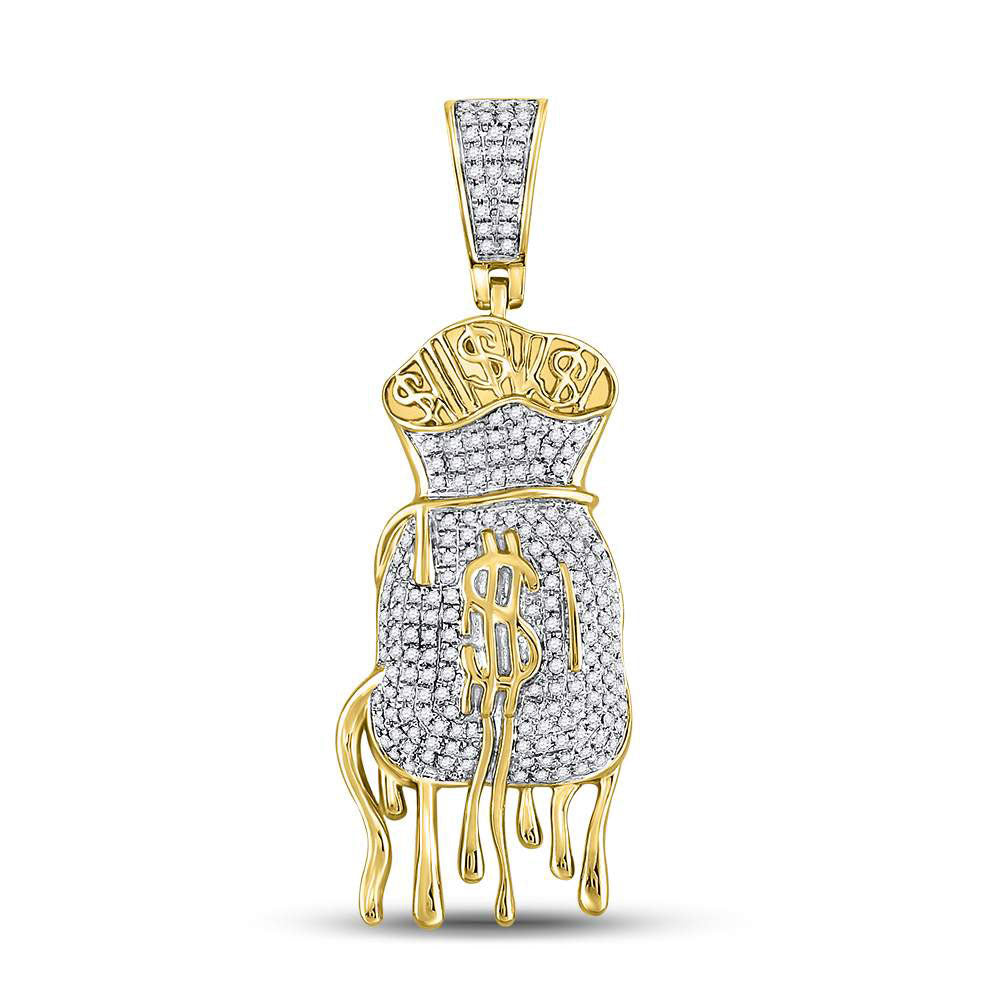 10K Yellow Gold Men's Diamond Dripping Money Bag Charm Pendant 1/2 Ct