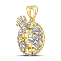 Men's 3/4 Ct Diamond Globe Crown King Charm Pendant in 10K Yellow Gold