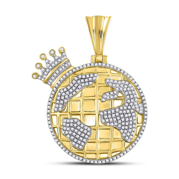 10K Yellow Gold Men's Diamond Globe Crown King Charm Pendant 3/4 Ct