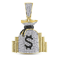 10K Yellow Gold Men's Diamond Money Bag Stacks Charm Pendant 3/4 Ct