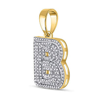 Men's 1/2 Ct Diamond Letter B Bubble Initial Charm Pendant in 10K Yellow Gold