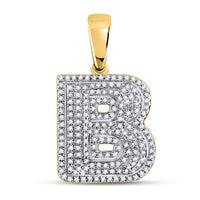 10K Yellow Gold Men's Diamond Letter B Bubble Initial Charm Pendant 1/2 Ct