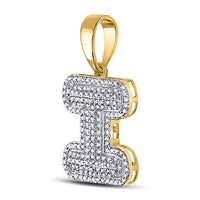 Men's 1/2 Ct Diamond Letter I Bubble Initial Charm Pendant in 10K Yellow Gold