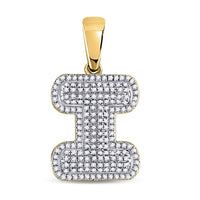 10K Yellow Gold Men's Diamond Letter I Bubble Initial Charm Pendant 1/2 Ct