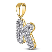 Men's 5/8 Ct Diamond Letter K Bubble Initial Charm Pendant in 10K Yellow Gold