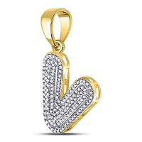 Men's 3/8 Ct Diamond Letter V Bubble Initial Charm Pendant in 10K Yellow Gold