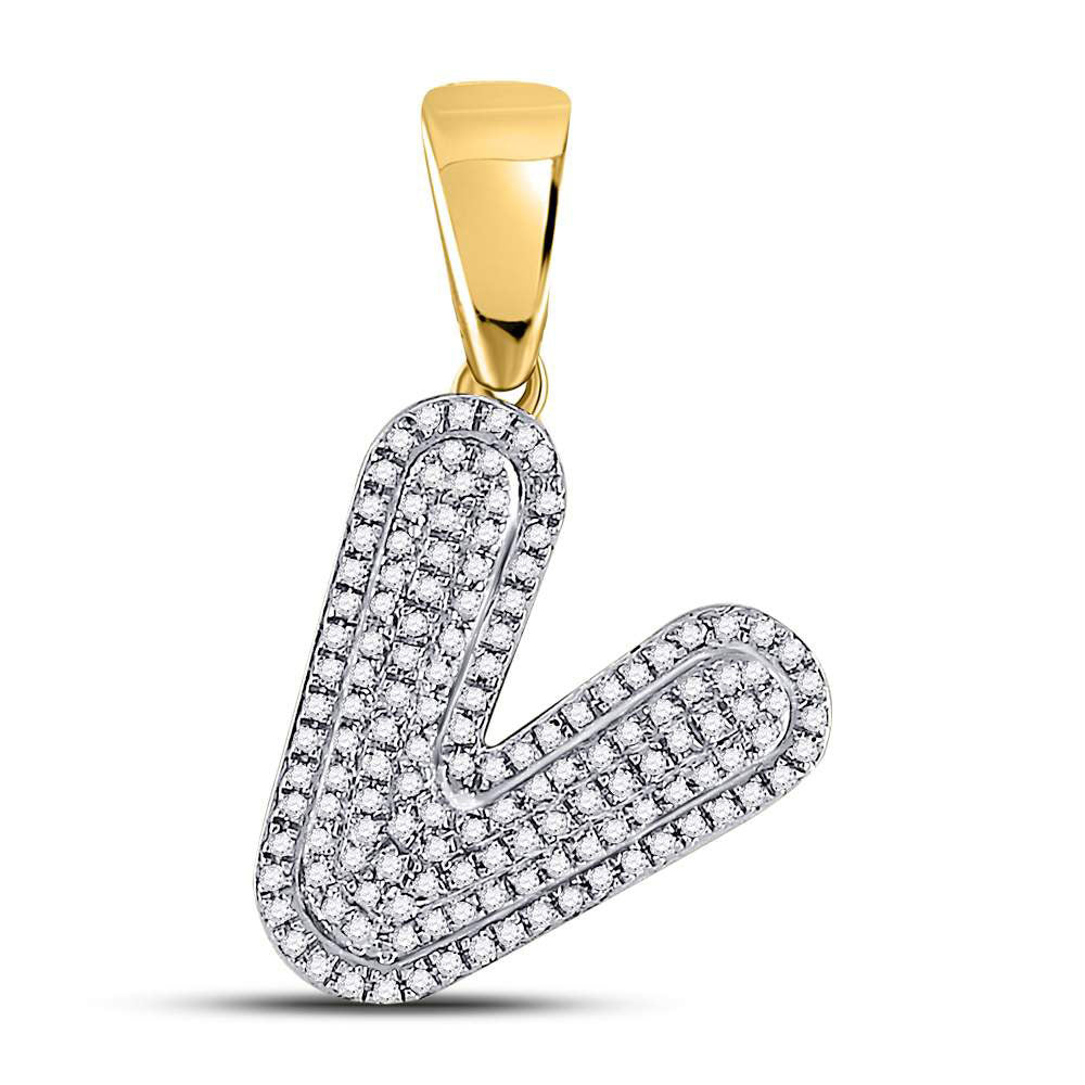 10K Yellow Gold Men's Diamond Letter V Bubble Initial Charm Pendant 3/8 Ct