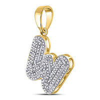 Men's 1/2 Ct Diamond Letter W Bubble Initial Charm Pendant in 10K Yellow Gold