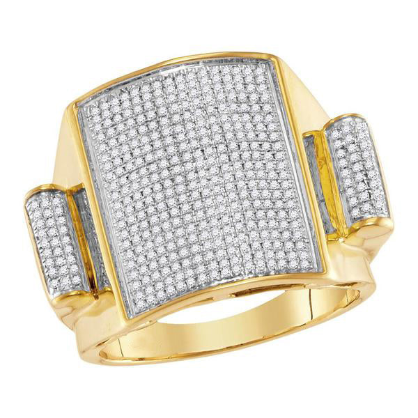 Men's 3/4 Ct Diamond Pave-set Rectangle Dome Cluster Ring in 10K Yellow Gold