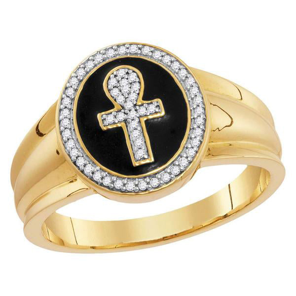 Men's 1/6 Ct Diamond Ankh Cross Fashion Ring in 10K Yellow Gold