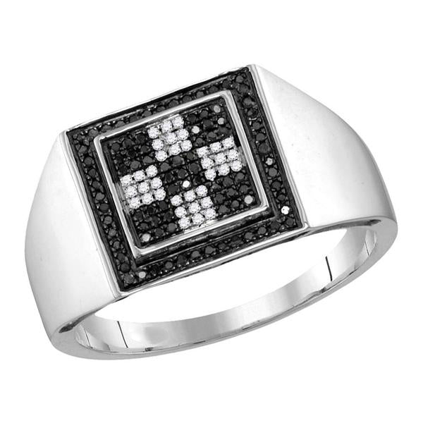 Men's 1/4 Ct Diamond Black Color Checkered Square Cluster Ring in 10K White Gold