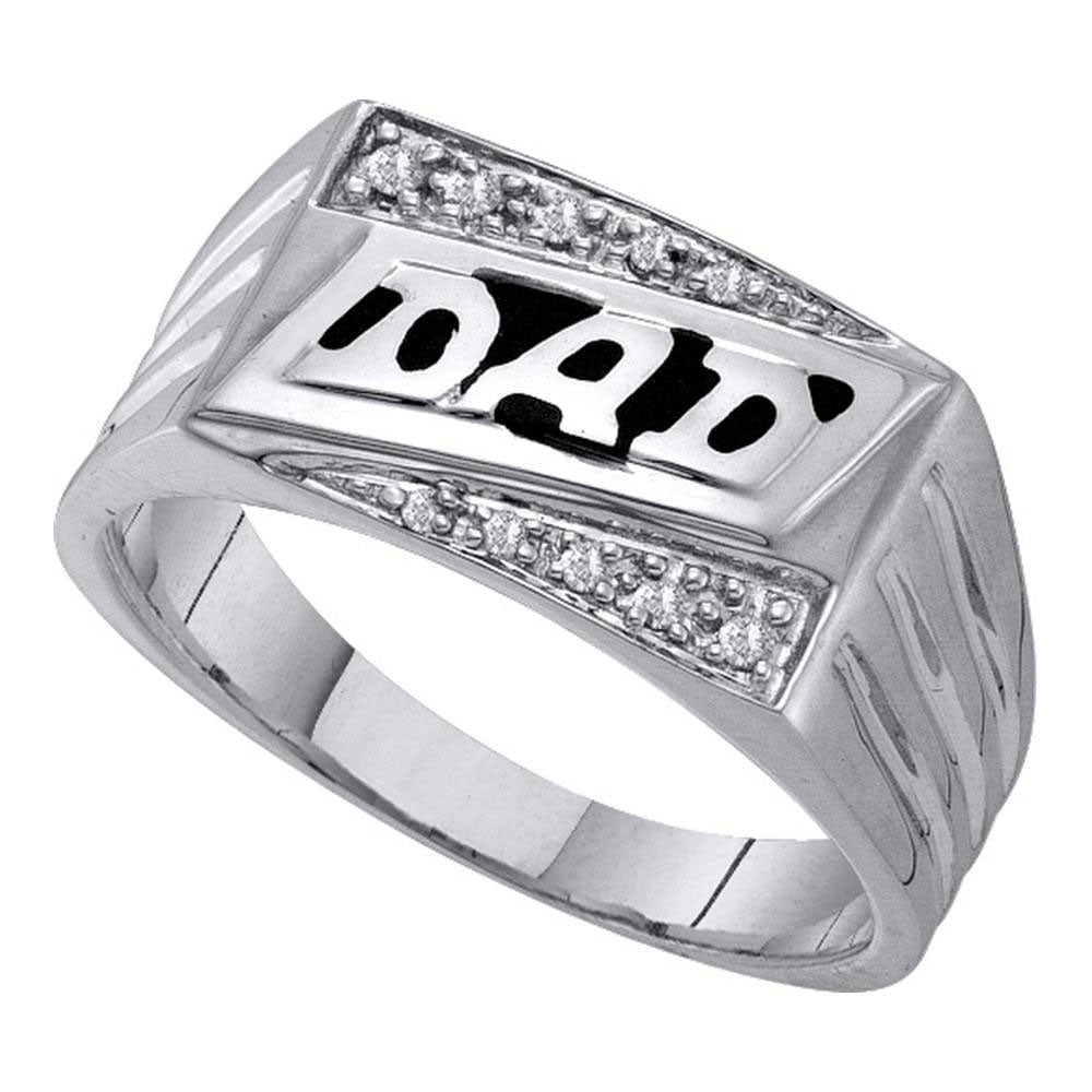 10K White Gold Mens Round Diamond Dad Father Fashion Ring 1/12 Ct