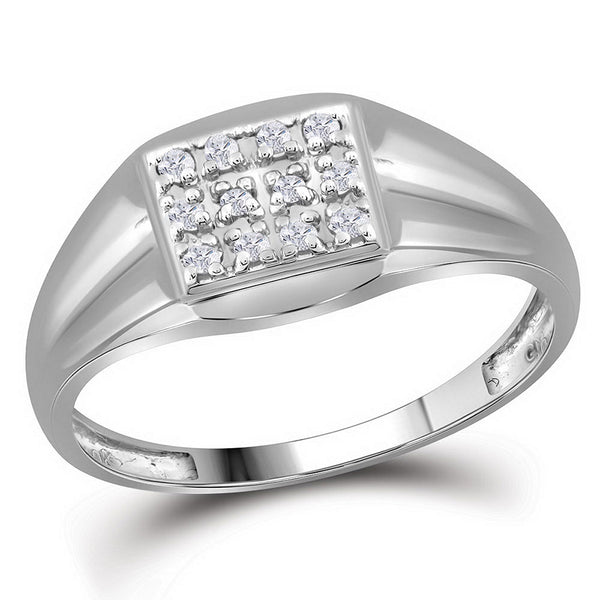10K White Gold Mens Round Diamond Square Cluster Ring 1/8 Ct