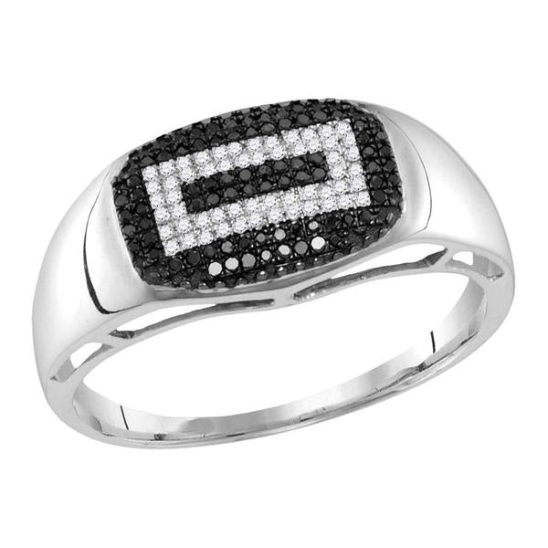 Men's 1/4 Ct Diamond Black Color Concentric Rectangle Cluster Ring in 10K White Gold