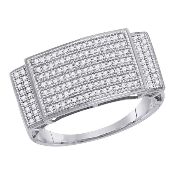 Men's 1/2 Ct Diamond Pave-set Rectangle Cluster Ring in 10K White Gold