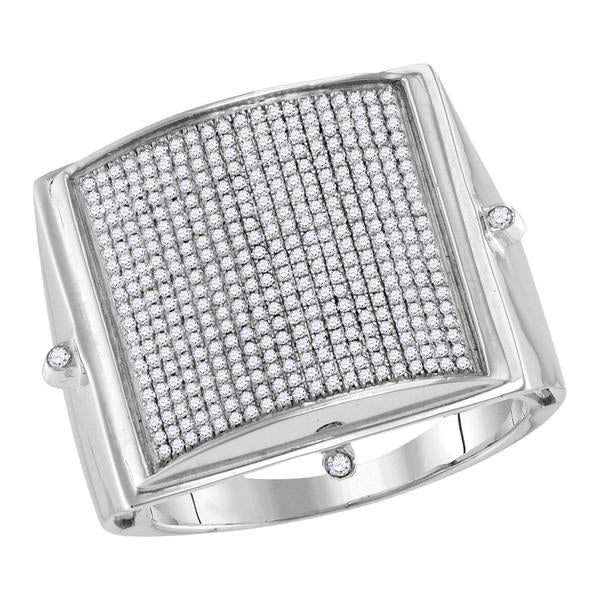Men's 3/4 Ct Diamond Pave-set Square Dome Cluster Ring in 10K White Gold