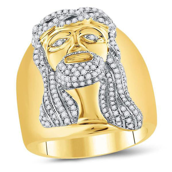 Men's 1.00 Ct Diamond Jesus Christ Face Cluster Ring in 10K Yellow Gold