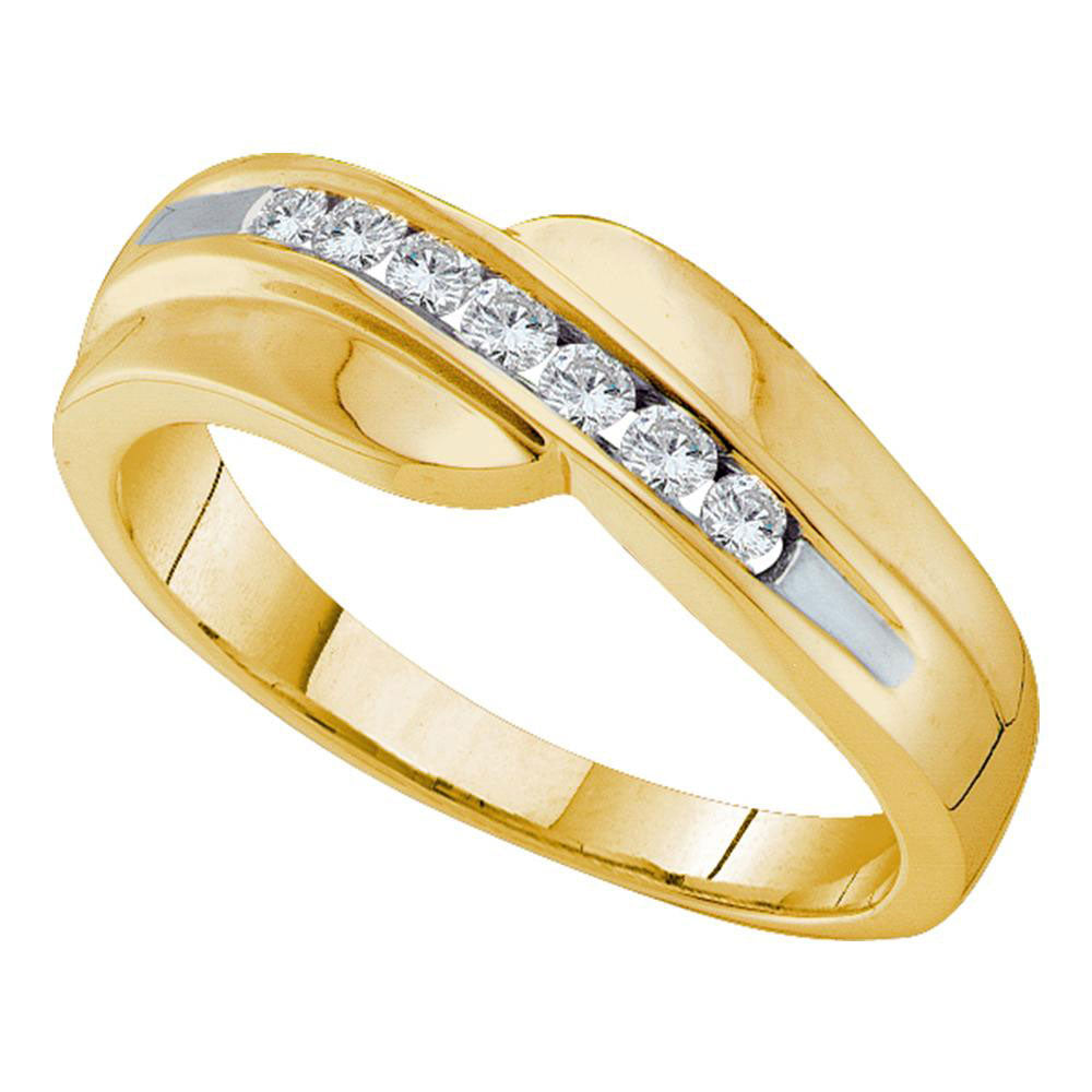14K Yellow Gold Mens Round Diamond Curved Wedding Anniversary Band 1/4 Ct