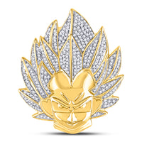 10K Yellow Gold Men's Diamond Goku Dragon Ball Z Charm Pendant 3/4 Ct