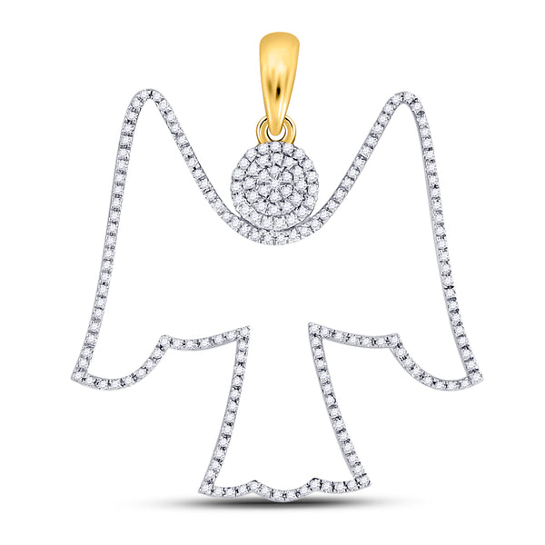 10K Yellow Gold Men's Diamond Angel Outline Charm Pendant 5/8 Ct