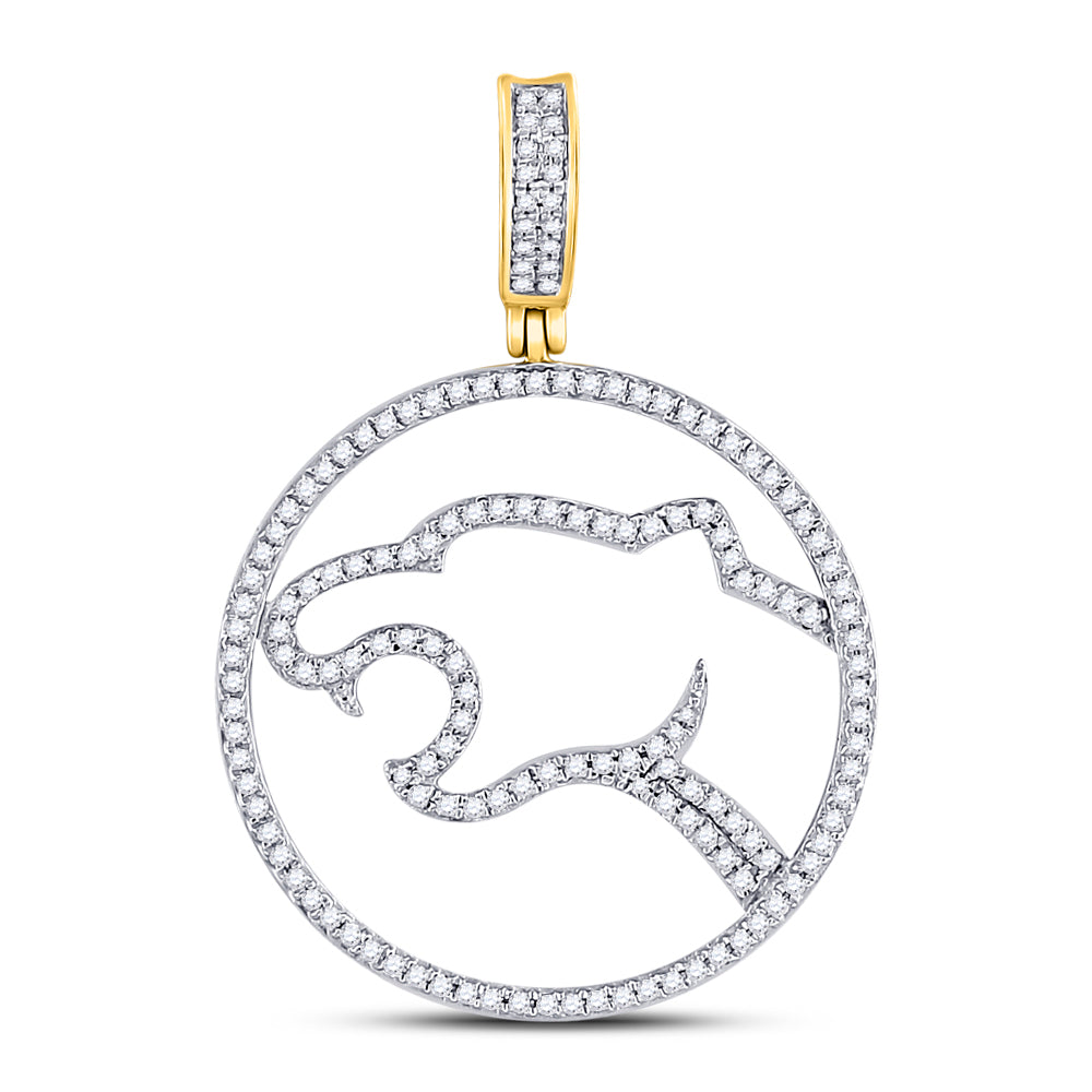 10K Yellow Gold Men's Diamond Panther Charm Pendant 1/2 Ct