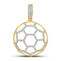 10K Yellow Gold Men's Diamond Soccer Ball Football Charm Pendant 1/2 Ct