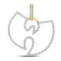 10K Yellow Gold Men's Diamond Wu-Tang Clan Charm Pendant 1/3 Ct