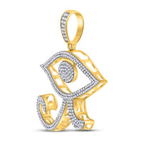 Men's 1.00 Ct Diamond Eye of Ra Egyptian Charm Pendant in 10K Yellow Gold