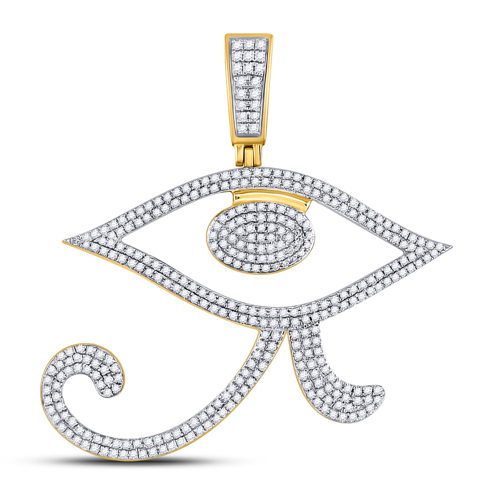 10K Yellow Gold Men's Diamond Eye of Ra Egyptian Charm Pendant 1.00 Ct