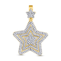 10K Yellow Gold Men's Diamond Concentric Star Charm Pendant 3/4 Ct
