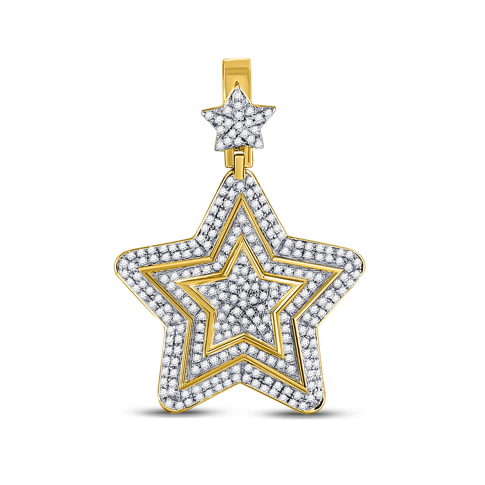 10K Yellow Gold Men's Diamond Concentric Star Charm Pendant 1-3/4 Ct