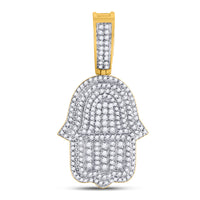 10K Yellow Gold Men's Diamond Hamsa Fatima Hand Charm Pendant 1-7/8 Ct