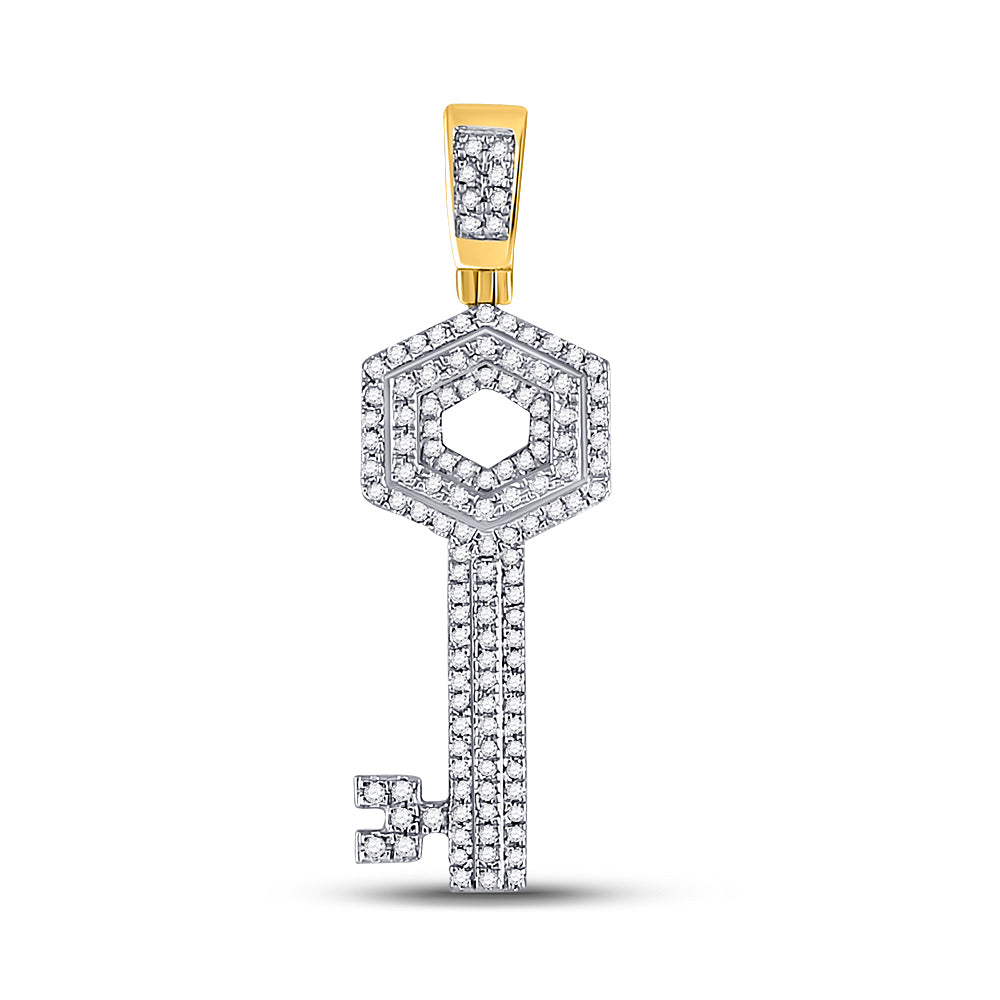 10K Yellow Gold Men's Diamond Key Charm Pendant 1/2 Ct