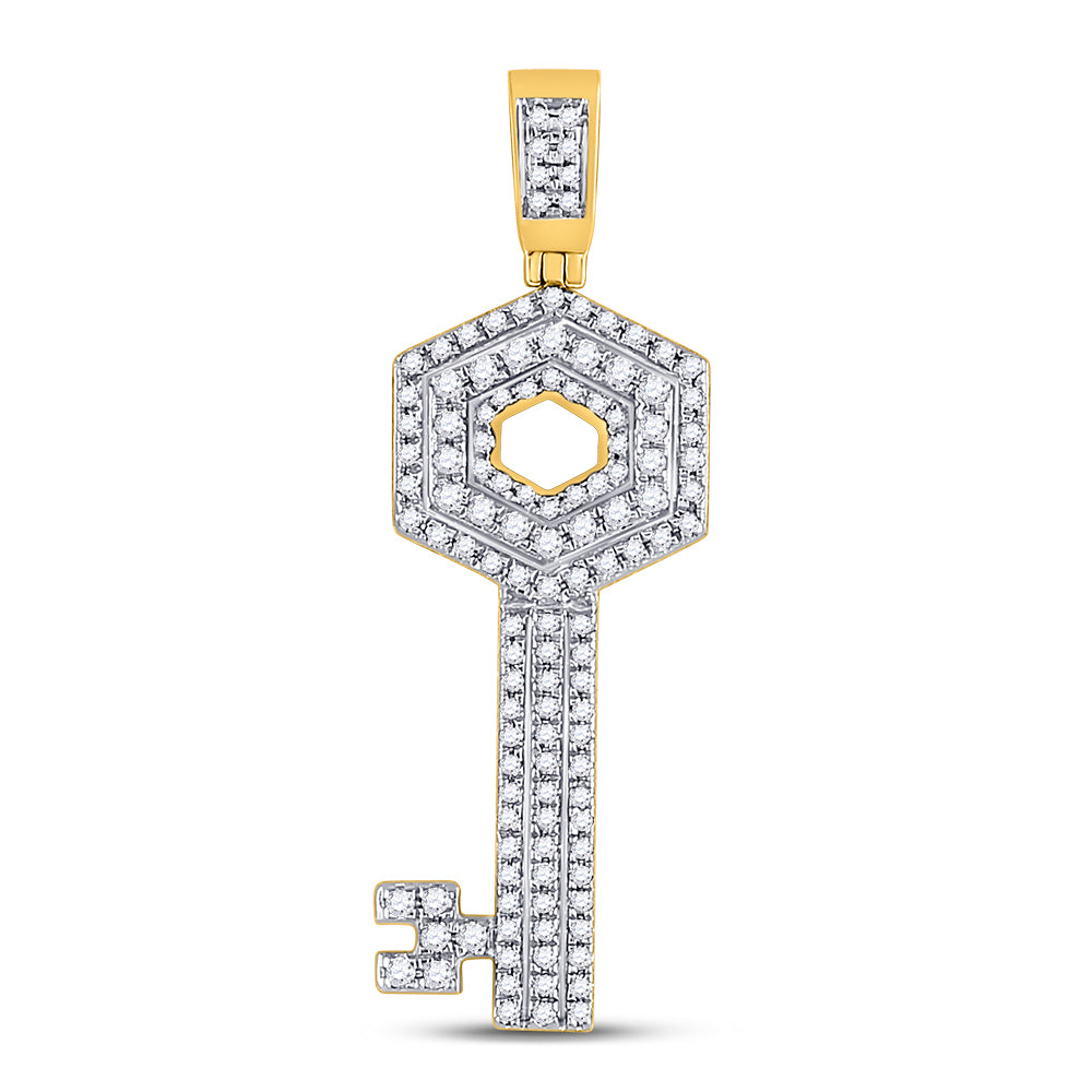10K Yellow Gold Men's Diamond Key Charm Pendant 5/8 Ct