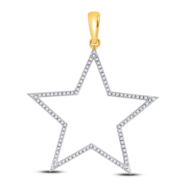 10K Yellow Gold Men's Diamond Star Outline Charm Pendant 1/3 Ct