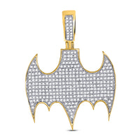 10K Yellow Gold Men's Diamond Batman Logo Charm Pendant 7/8 Ct