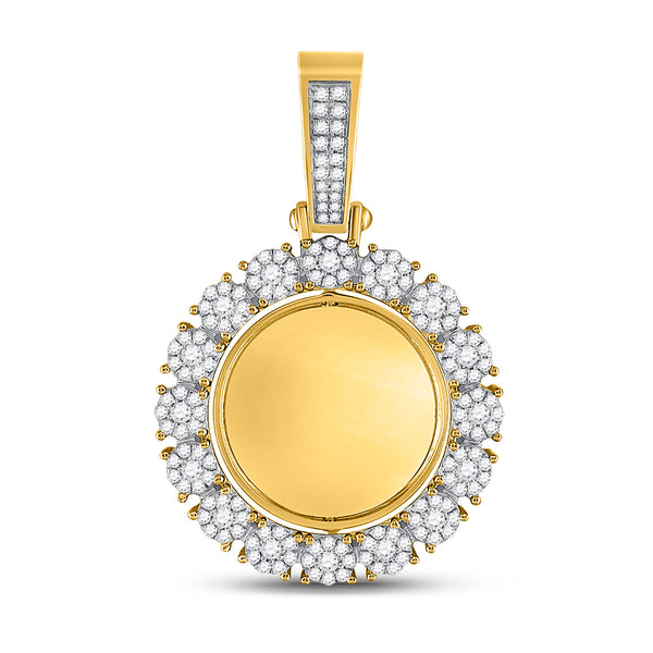 10K Yellow Gold Men's Diamond Circle Cluster Charm Pendant 2.00 Ct